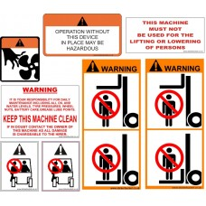 Fork lift safety sticker set
